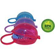 Baby Pacifier Case by Akeekah | 3 Pack Unisex | Soothie Pacifier Holder and Paci Container with Awesome Colorful Designs | Safe BPA Free Nippleshield Carrying Case with Free Eco-Friendly Mesh Bag