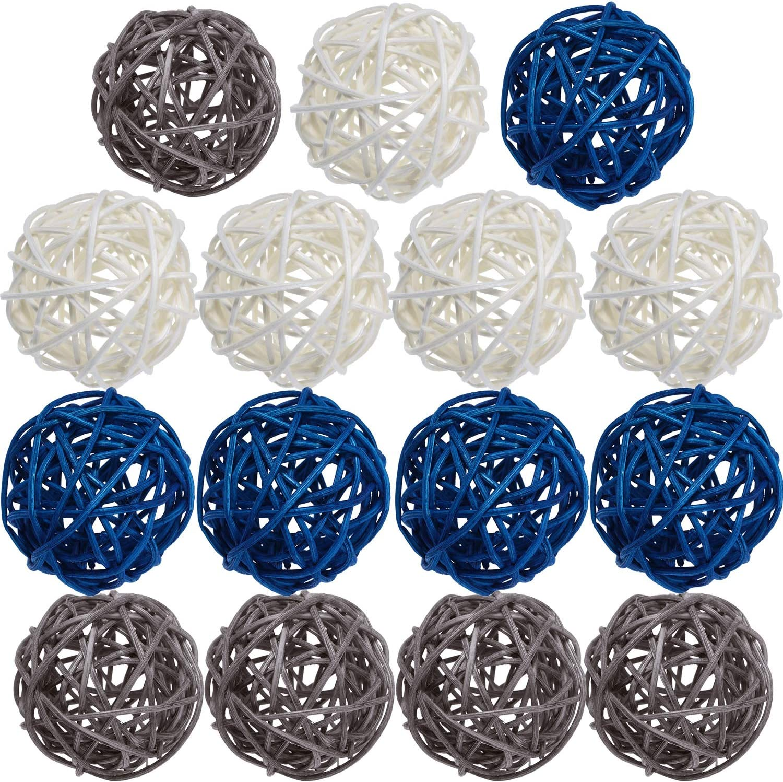 EXCEART 21pcs Wicker Rattan Balls Decorative Orbs Vase Fillers Balls Christmas Tree Ball Ornaments Wedding Decorations