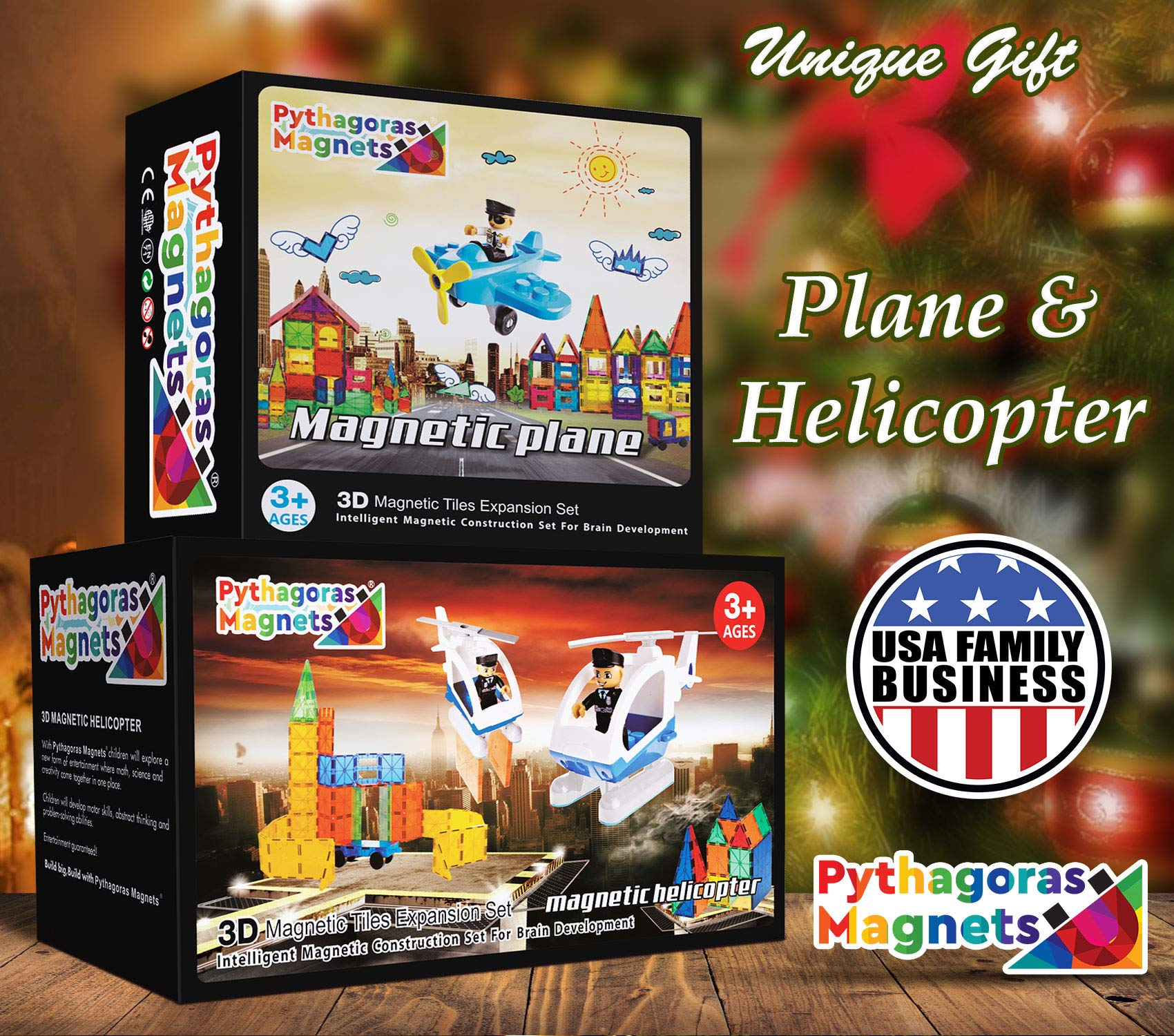 Flying Helicopter Toy Police Set with Magnets Flying Magnetic Plane - Policeman Toys Add on Sets for Magnetic Blocks - Magnetic Tiles Expansion Kids Educational STEM Learning Toys for Boys and Girls by Pythagoras Magnets (Image #2)