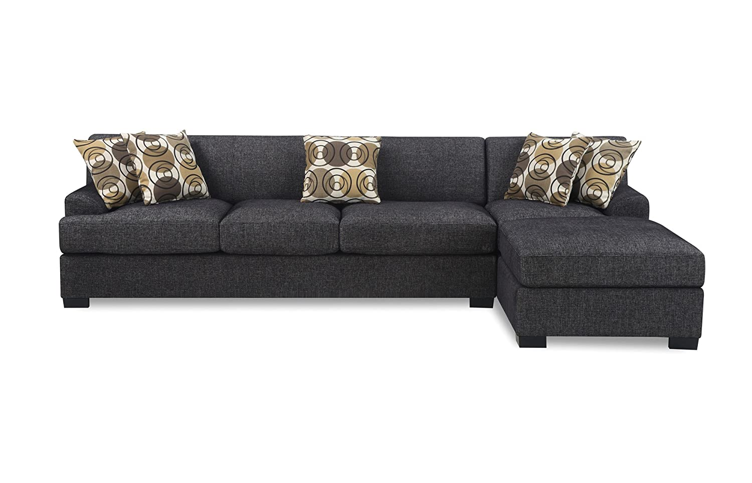 Amazon.com Bobkona Benford 2-Piece Chaise Loveseat Sectional Sofa Collection with Faux Linen Ash Black Kitchen u0026 Dining  sc 1 st  Amazon.com : loveseat chaise sofa - Sectionals, Sofas & Couches