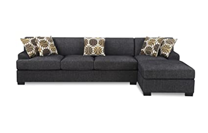 Charmant Bobkona Poundex Benford Collection Faux Linen Chaise Sofa, 2 Piece, Ash  Black