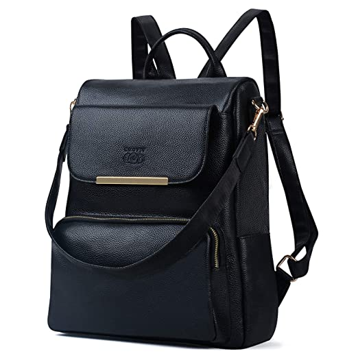 c0a5c75a729b COOFIT Womens Backpack Anti-Theft Backpack Black Leather Backpack Ladies  Shoulder Bag Casual Travel Daypack
