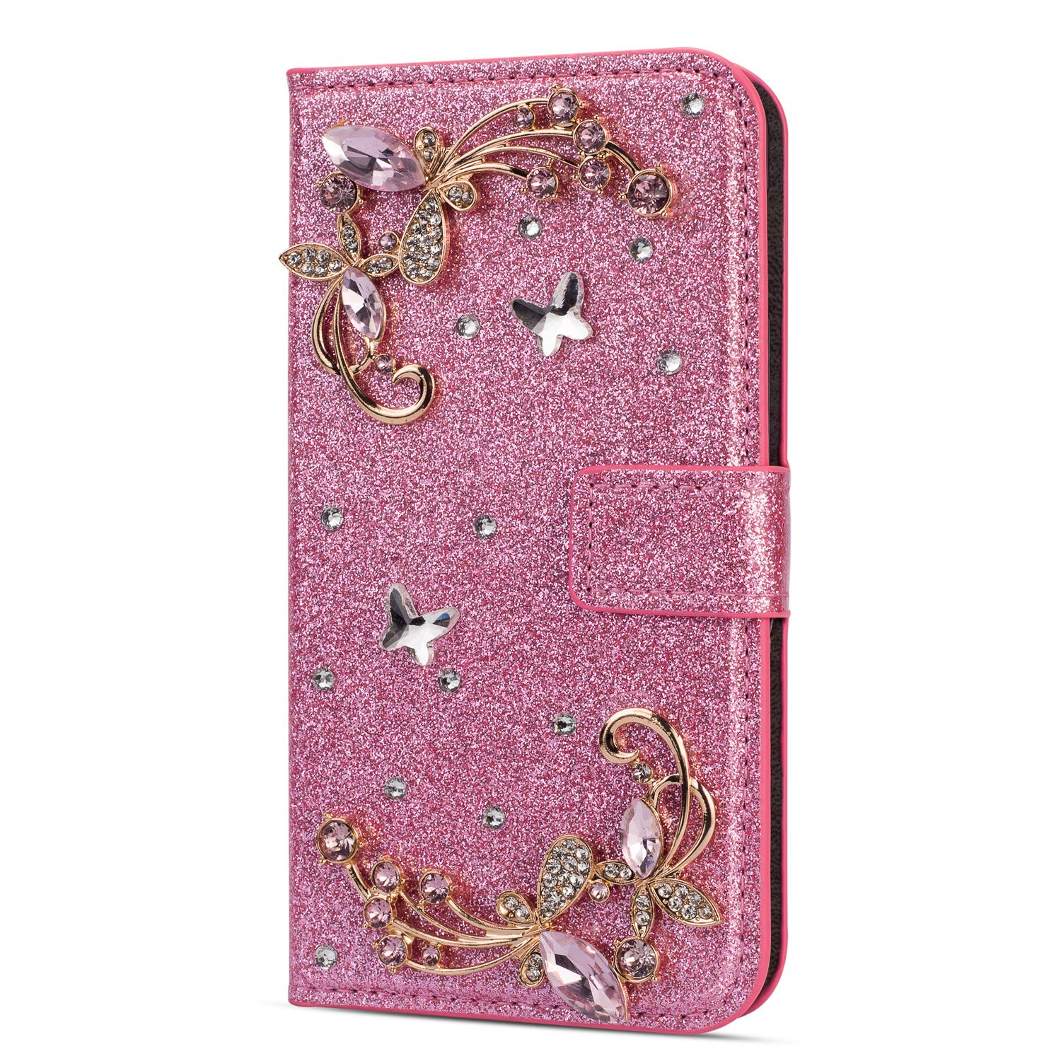 Amocase Glitter Case with 2 in 1 Stylus for iPhone SE,Luxury Diamond 3D Crystal Butterfly Flower Magnetic Wallet Soft PU Leather Stand Shockproof Case for iPhone SE/5/5S - Pink by Amocase