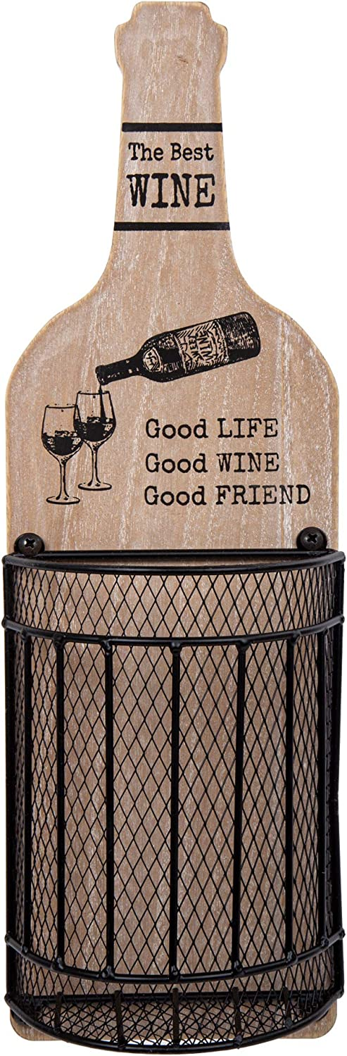 Truu Design, Wine Cork Wall Décor with Life Quote, 5 x 15.75 inches, Wood