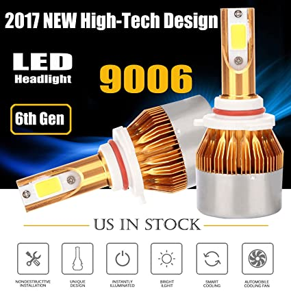 Amazon com: 120W 9006/HB4/9012 Car LED Headlights Bulbs Single High