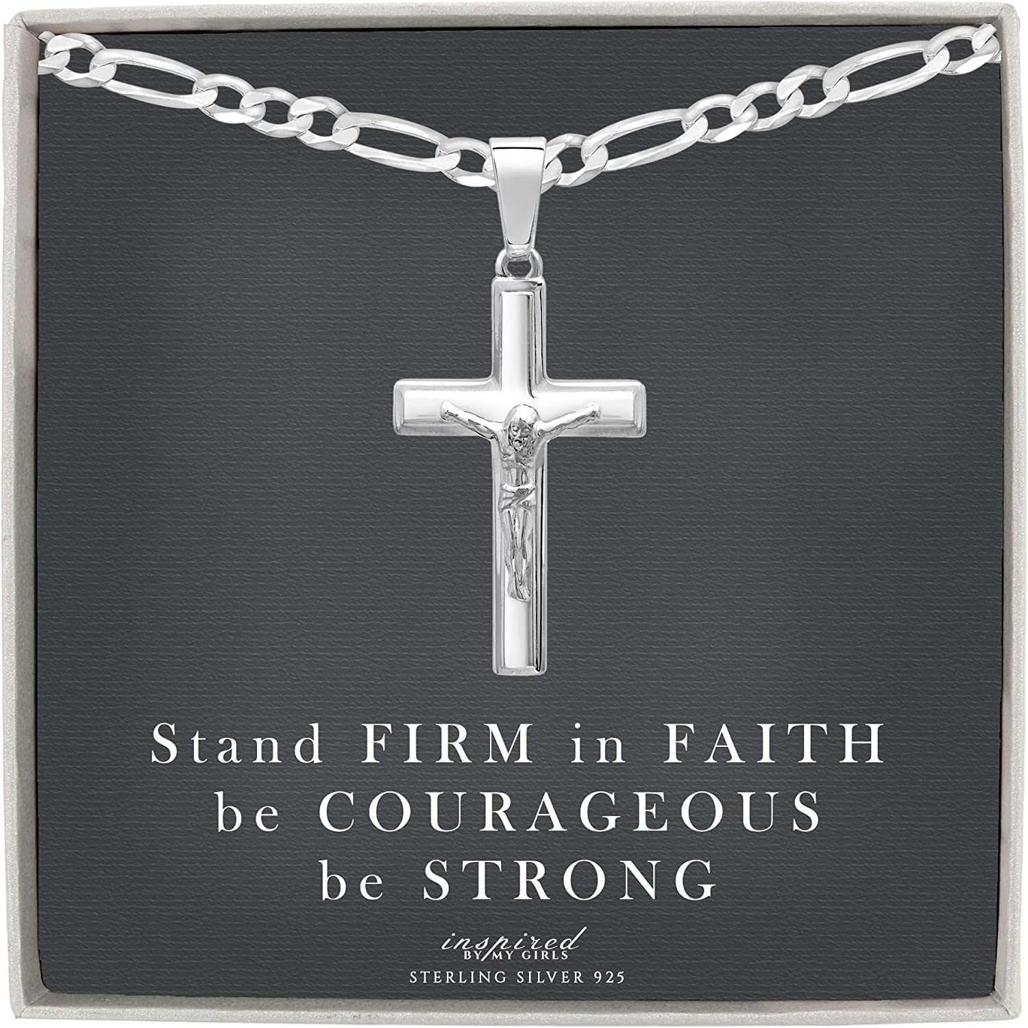 """925 Choice of Chain 16/"""" 18/"""" or 20/"""" Crucifix Cross Pendant Sterling Silver"""