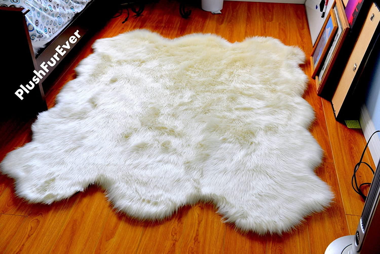 Amazon.com: Soft Faux Fur Sheepskin Area Throw Rug Fur Accents Shag Pelt Rug  Off White 7 U0027: Baby