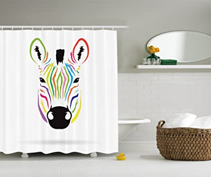 Zebra Print Shower Curtain Animal Decor By Ambesonne Colorful Exotic Abstract Artwork Fabric Bathroom