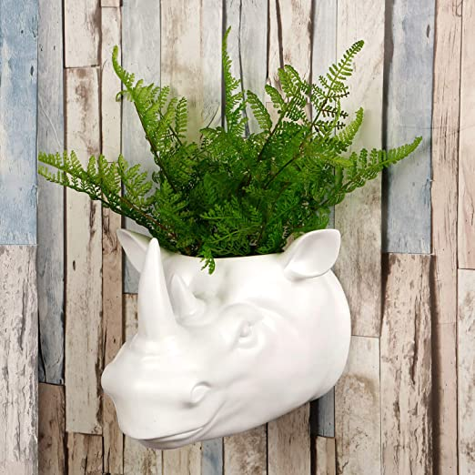Walplus - Maceta de decoración de jardín 2 en 1 para Colgar en la Pared, diseño de taxidermia sintética para decoración de Pared, diseño de Animales: Amazon.es: Hogar