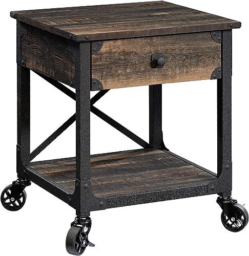 Sauder Steel River Side Table, L 22.44 x W 21.65 x H 23.11 , Carbon Oak