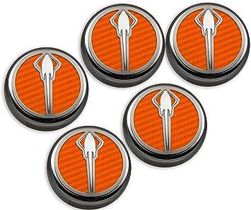 5 Piece Corvette Flag Emblem American Car Craft 053013-ORG Orange Carbon Fiber Fluid Cap Cover Set