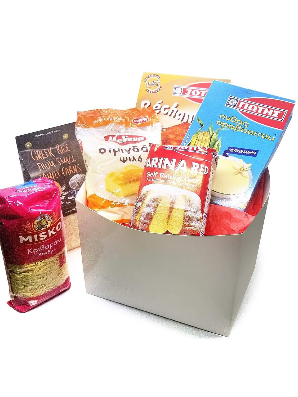 Greek Food Product Basket with Misko orzo, Arosis Greek Rice, Yotis Farin up, Yotis Vanilla pudding/custard, Yotis Bechamel, Melissa Semolina fine