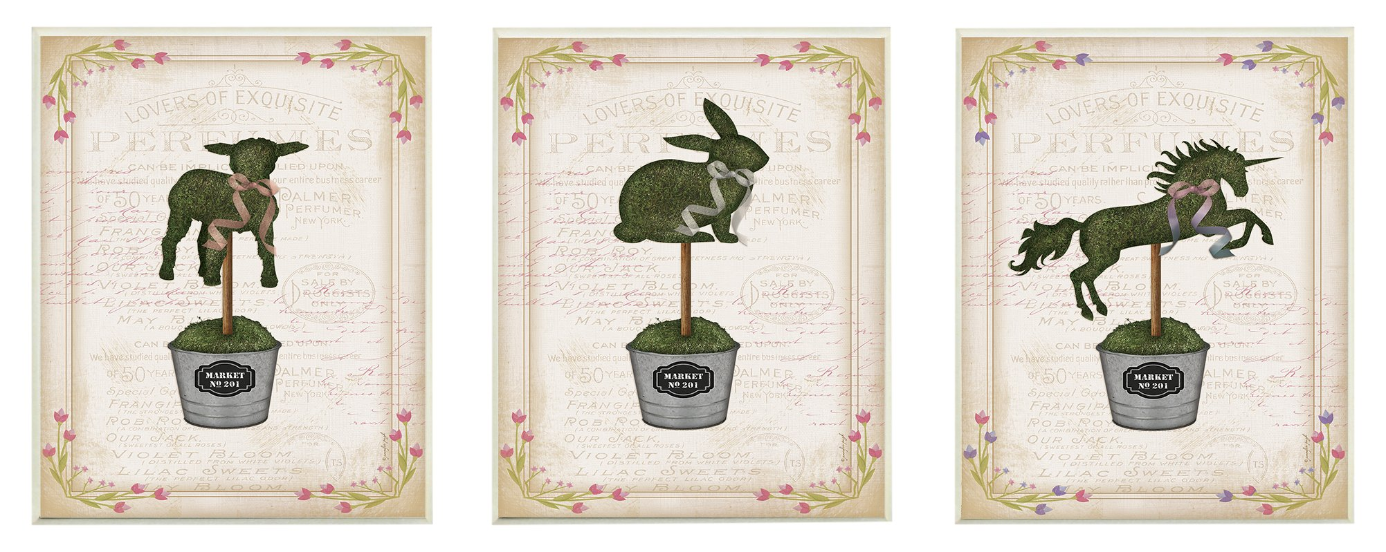 Stupell Home Décor English Garden Topiary Animals 3pc Wall Plaque Art Set, 10 x 0.5 x 15, Proudly Made in USA