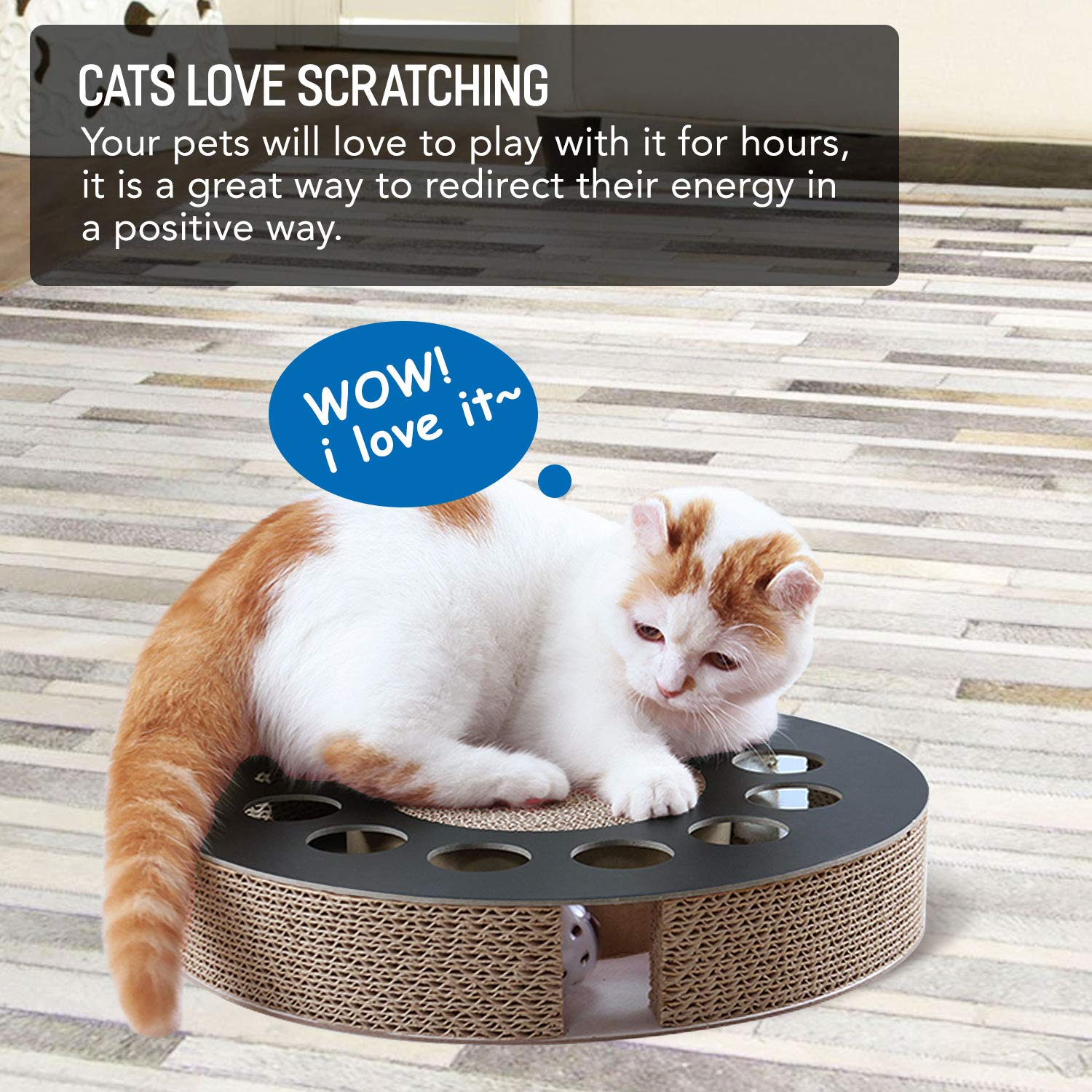 Round Shape Cat Scratcher Cardboard Board Pads with Catnip Durable Recycle Pad Toy Prevents Furniture Damage ScratchMe Cat Scratching Post Lounge Bed