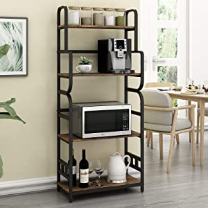 """O&K FURNITURE Industrial Kitchen Baker's Rack, Microwave Stand with 4 Shelves, Detachable Kitchen Spice Rack-Rustic Brown Finish, 23.6""""W x 11.3""""D x 54""""H"""