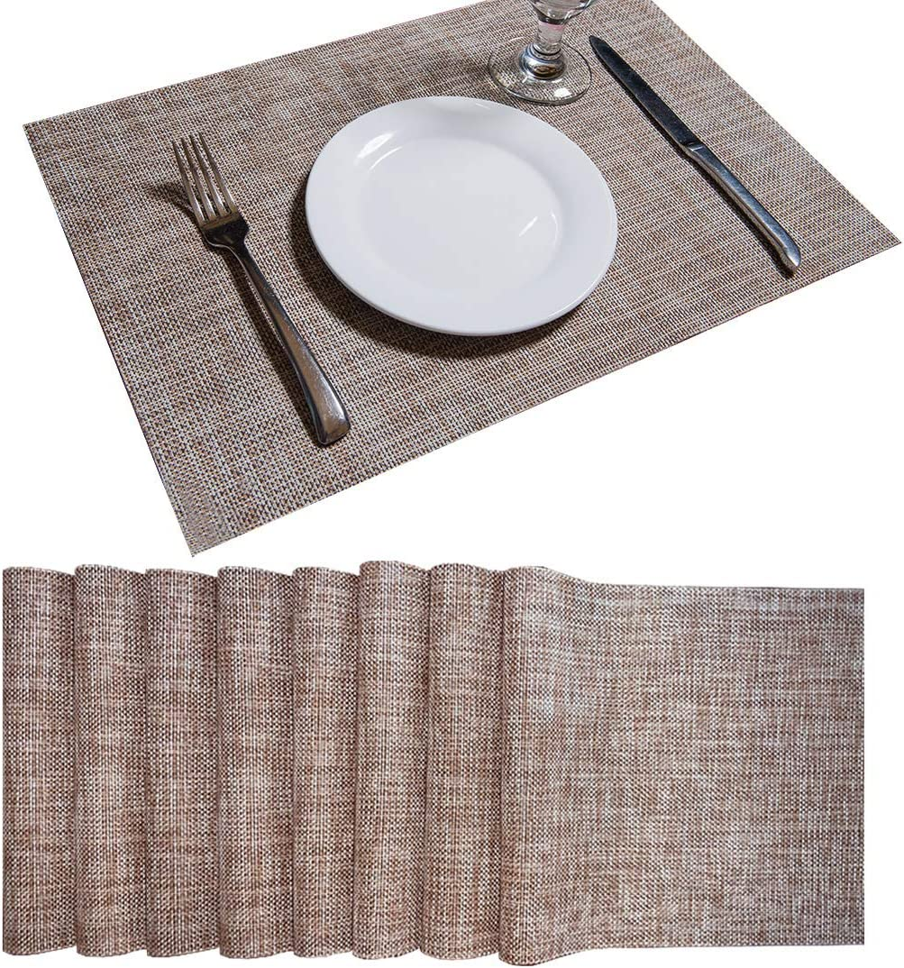 SD SENDAY Placemats, Set of 8 Heat-Resistant Stain Resistant Non-Slip Placemats for Kitchen Table, Washable Durable PVC Table Mats Woven Vinyl Placemats (8PCS, Gray)