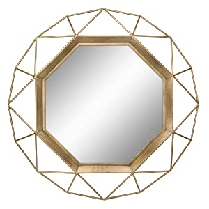 "Stonebriar Decorative Antique Gold 30"" Geometric Metal Frame Hanging Wall Mirror with Mounting Brackets, Modern Decor for the Living Room, Bathroom, Bedroom, and Entryway"