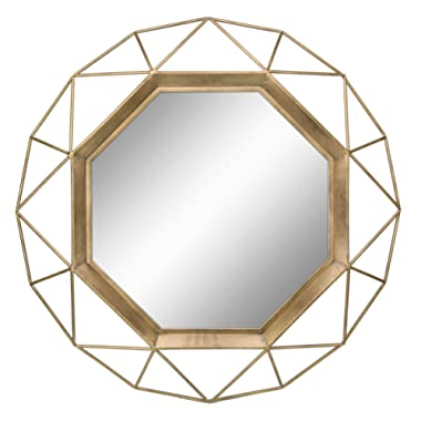 Stonebriar Decorative Antique Gold 30  Geometric Metal Frame Hanging Wall Mirror with Mounting Brackets, Modern Decor for the Living Room, Bathroom, Bedroom, and Entryway