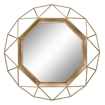 2105a3a8af4e Stonebriar Decorative Antique Gold 30 quot  Geometric Metal Frame Hanging Wall  Mirror with Mounting Brackets