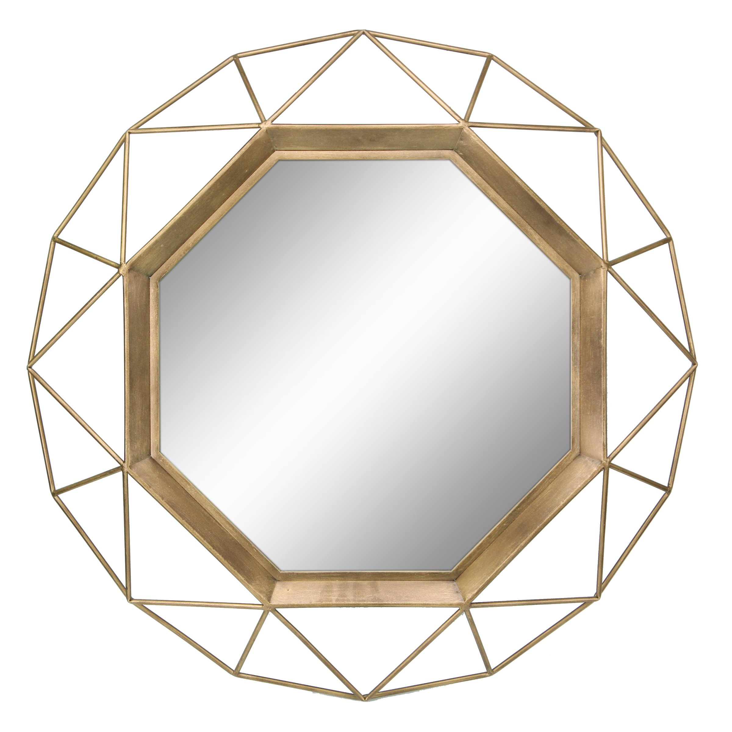 Stonebriar Decorative Antique Gold 30'' Geometric Metal Frame Hanging Wall Mirror with Mounting Brackets, Modern Decor for the Living Room, Bathroom, Bedroom, and Entryway