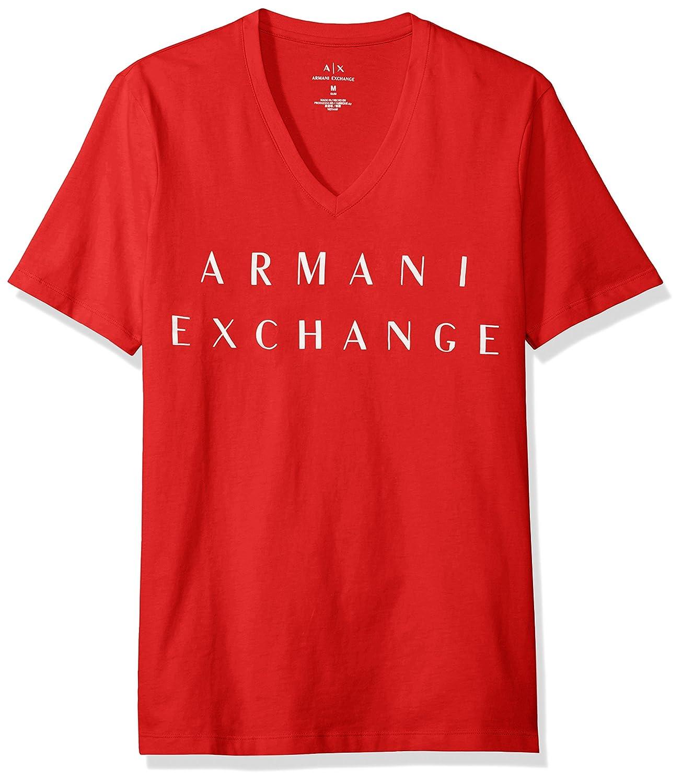 [AX アルマーニ エクスチェンジ]ブランドネーム VネックTシャツ 8NZTCM/ZJH4Z メンズ B01N0XCYV1 L レッド レッド L