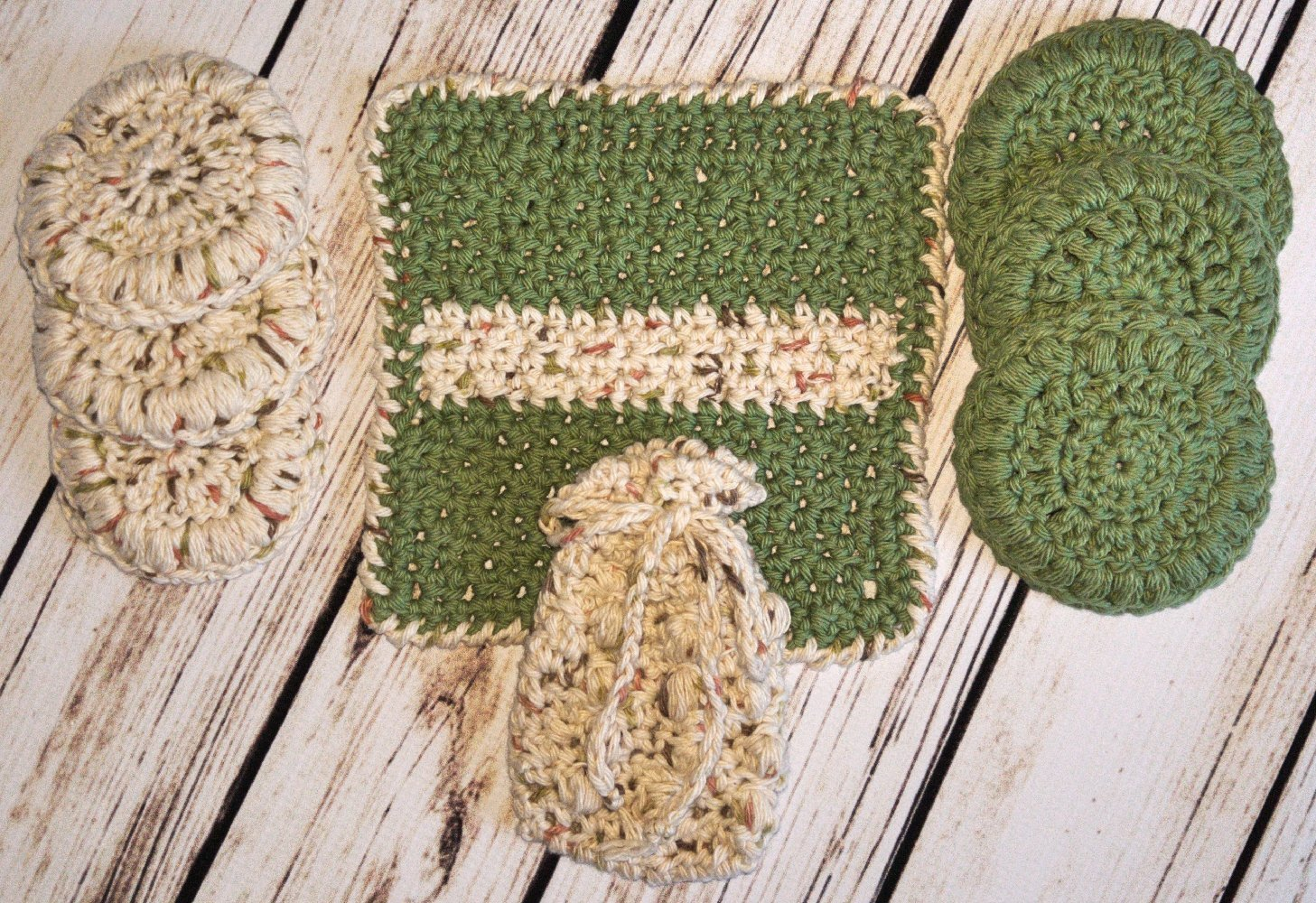 Unisex Green and Tan Speckled Invigorating yet Gentle Face and Body Poufs. Hand crocheted spa or bath set.Great teacher appreciation gift. by Cloud 9 Crochet