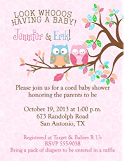 Owl Baby Shower Invitations Personalized Your Color Cute Owls