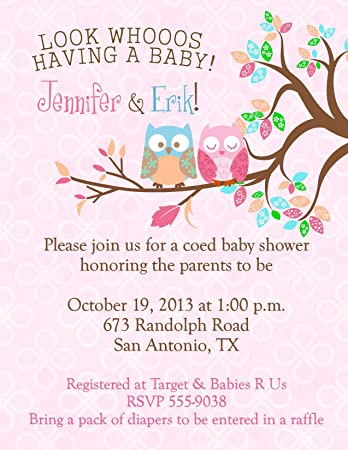 soft designs owl shower cute pink spring invitations baby chevron gray