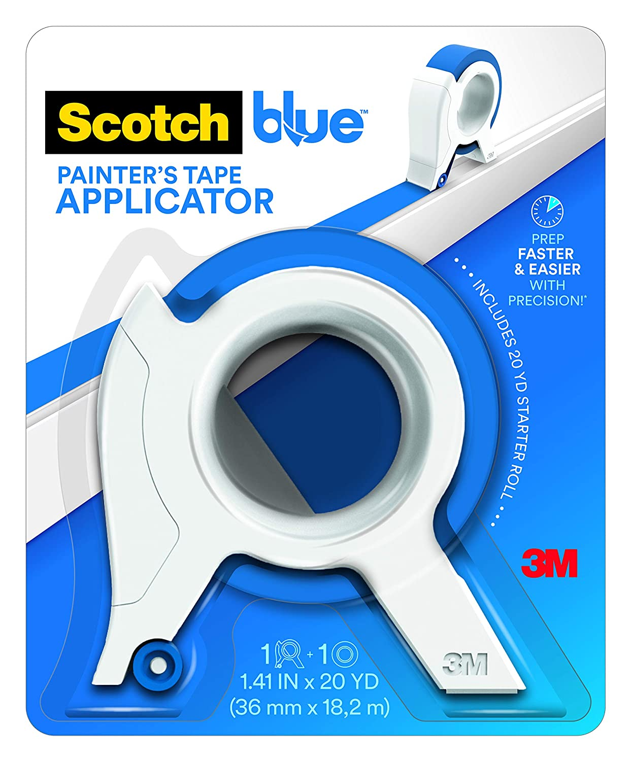 ScotchBlue TA3-SB Painter's Tape Applicator, Blue, with 1 Starter Roll 1.41 in. x 20 yd