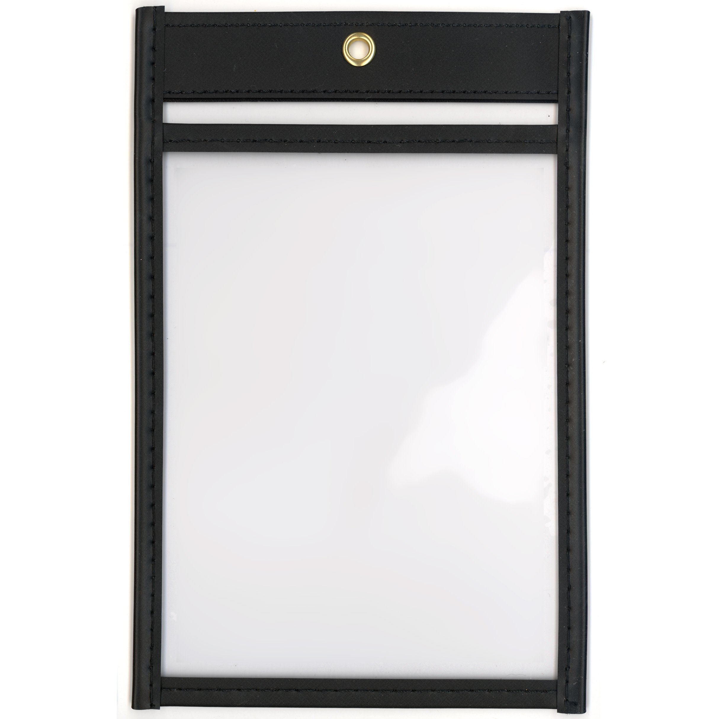 StoreSMART - 4'' x 6'' - Open Short - Black Rigid Vinyl Sewn Pocket - 5-Pack - Photo Size - T85209S-BK-5