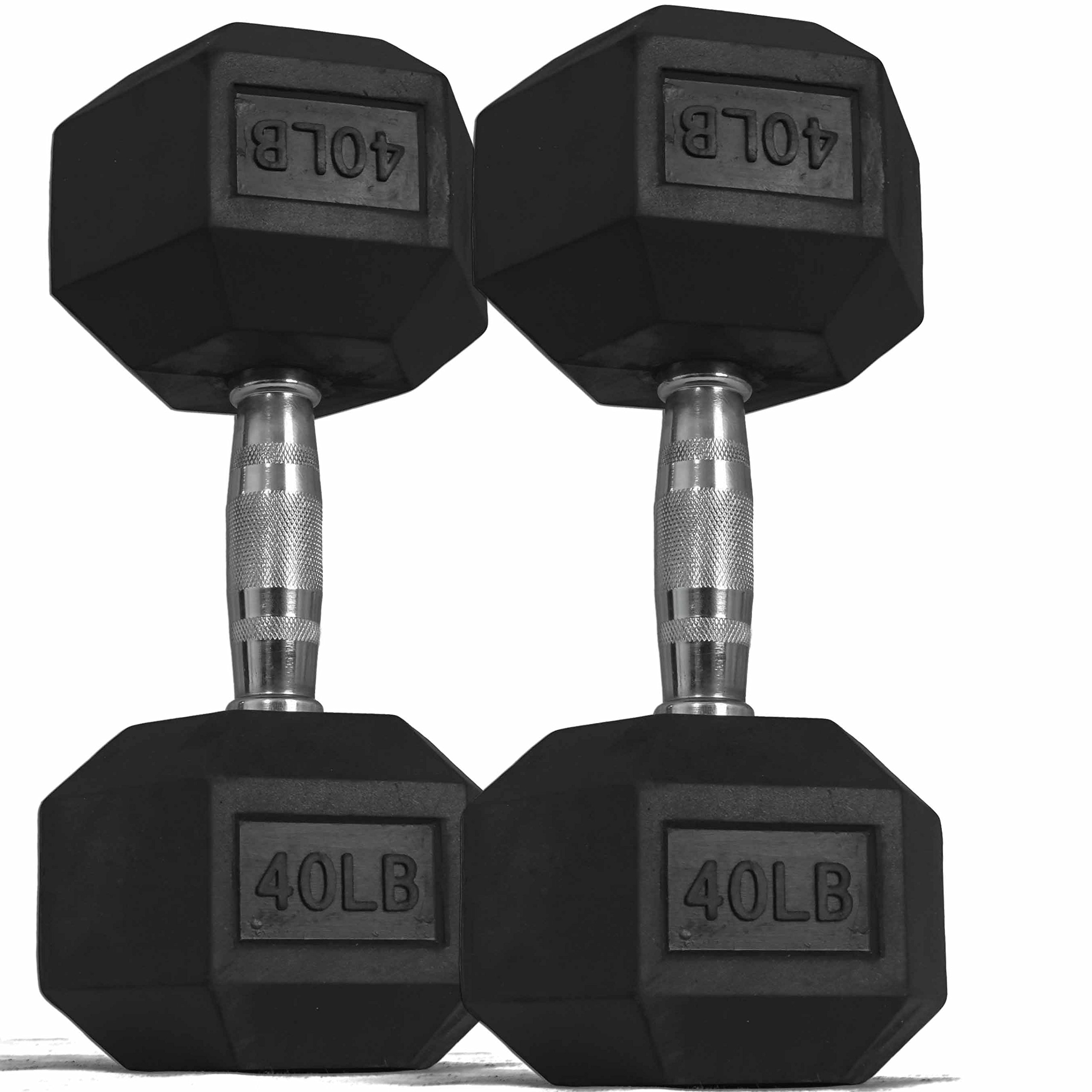 Pair 40 lb Black Rubber Coated Hex Dumbbells Weight Training Set 80 lb Fitness