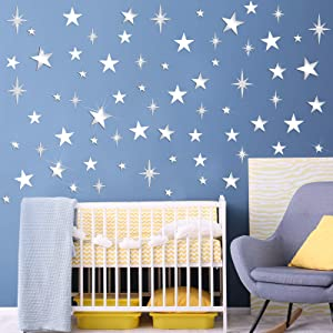 190 Pieces Removable Star Mirror Wall Stickers Acrylic Glitter Star Wall Decal Mural Art Craft for Baby Kids Bedroom Living Room Home Decor, 3 Styles (Silver, White)
