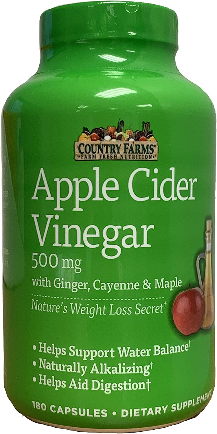 Country Farms Apple Cider Vinegar Capsules Helps Support Water Balance, Naturally Alkalizing, 180 Capsules, 180 Count