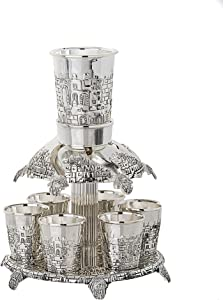 Legacy Judaica Silver Plated Fountain, 6 Cups