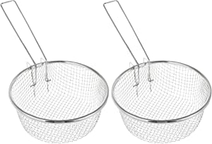 Deep Wire Basket for Cooking - Pack of 2 - Commercial Stainless Steel Fry Baskets With Handle - Deep Fryer Strainer - 7 Inches