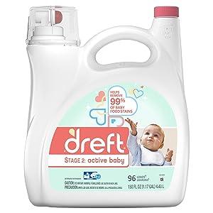 Dreft Dreft Stage 2: Active Baby Liquid Laundry Detergent, 96 Loads, 150 Fl Oz