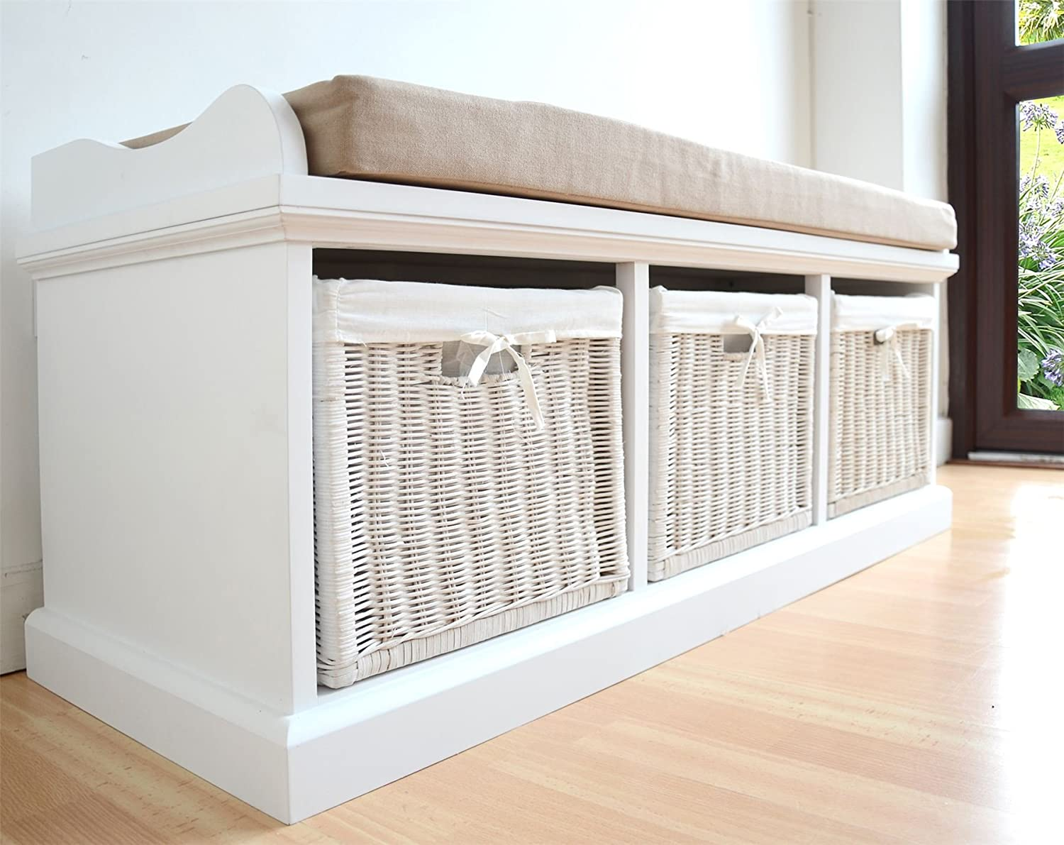 Tetbury White Storage Bench With Cushion Quality Hallway Bench
