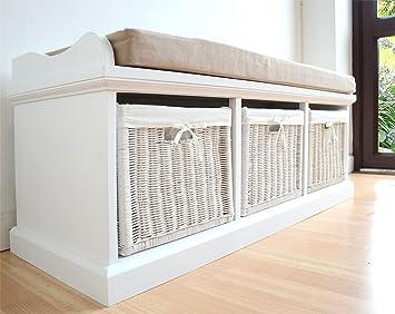 Tetbury White Storage Bench With Cushion Quality Hallway Bench Very Sturdy