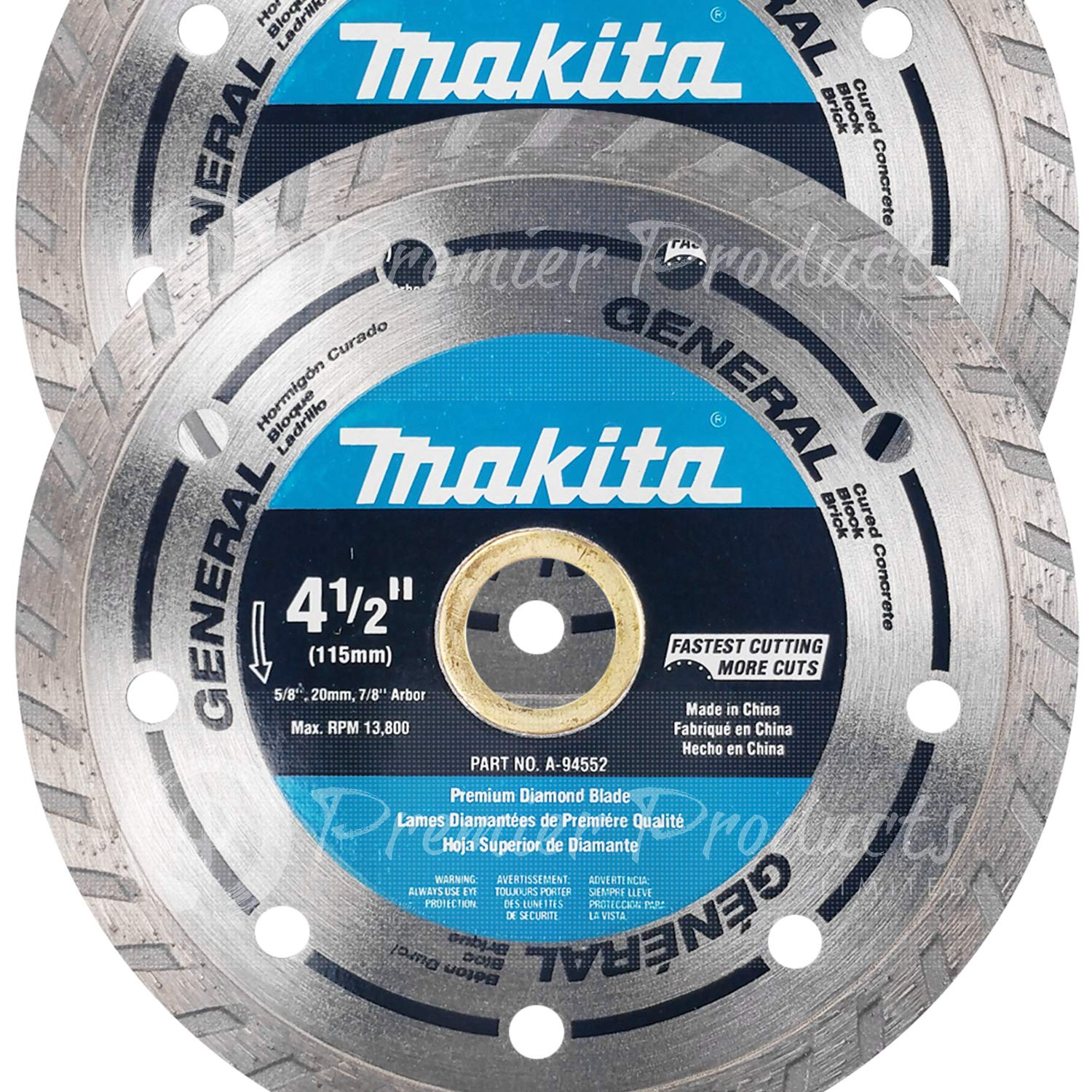 "Makita 2 Pack - 4.5"" Turbo Diamond Blades For 4.5"" Grinders - Ultra-Fast Cutting For Concrete, Masonry & Brick - 4-1/2"" x 7/8"""