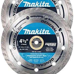 """Makita 2 Pack - 4.5"""" Turbo Diamond Blades For 4.5"""" Grinders - Ultra-Fast Cutting For Concrete, Masonry & Brick - 4-1/2"""" x 7/8"""""""