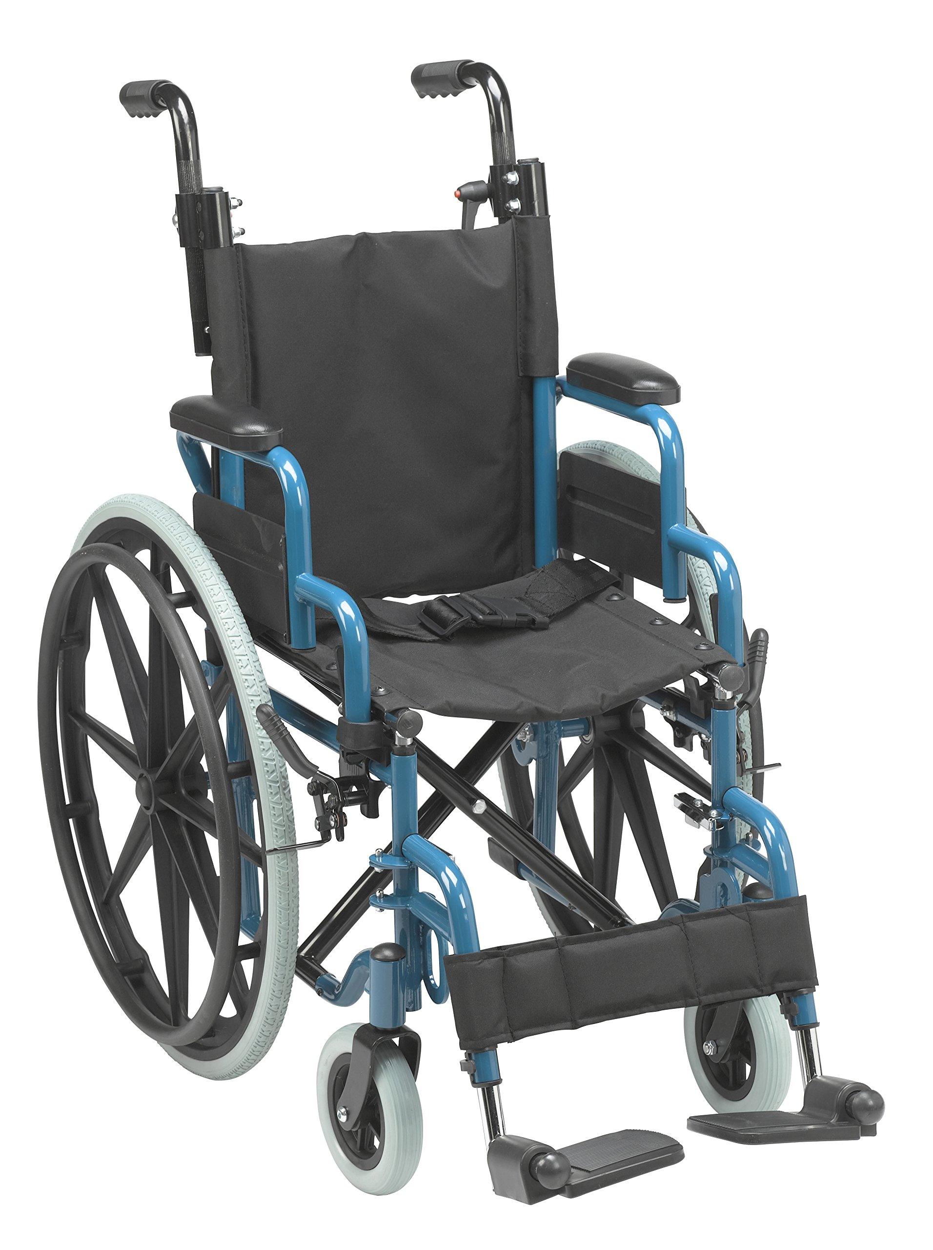 Inspired by Drive Wallaby Pediatric Folding Wheelchair, Jet Fighter Blue, 14 inch by Inspired by Drive