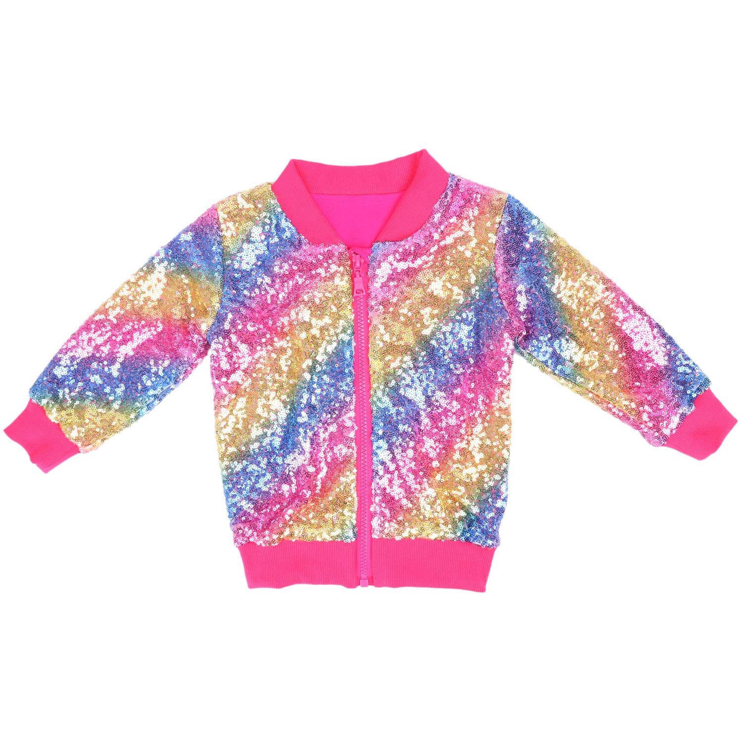 Cilucu Kids Jackets Girls Boys Sequin Zipper Coat Jacket for Toddler Birthday Christmas Clothes Bomber Hot Pink Rainbow 5-6years by Cilucu