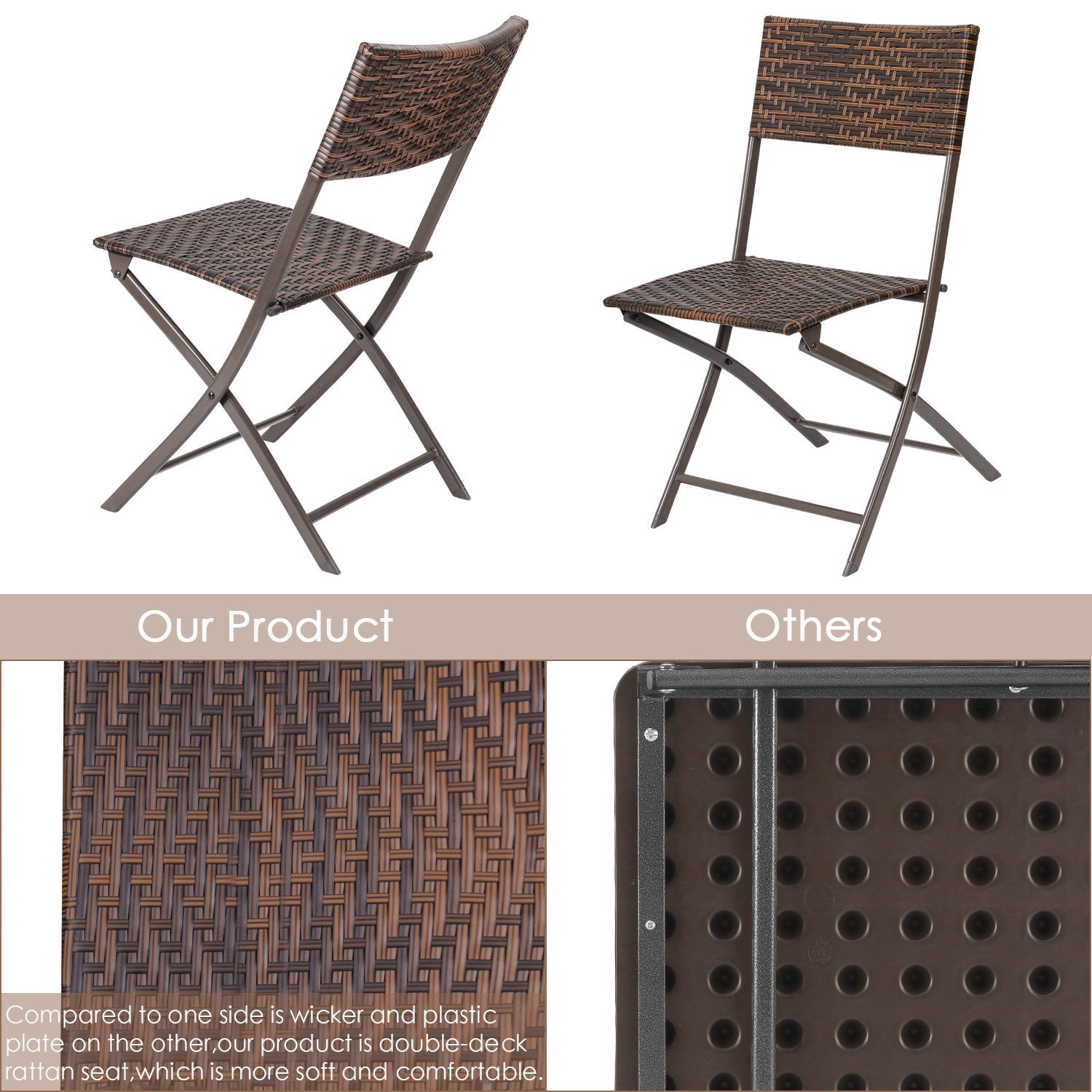 Flamaker Folding Patio Chairs PE Wicker Rattan Chair 4 Pieces Patio Furniture Set by Flamaker (Image #4)