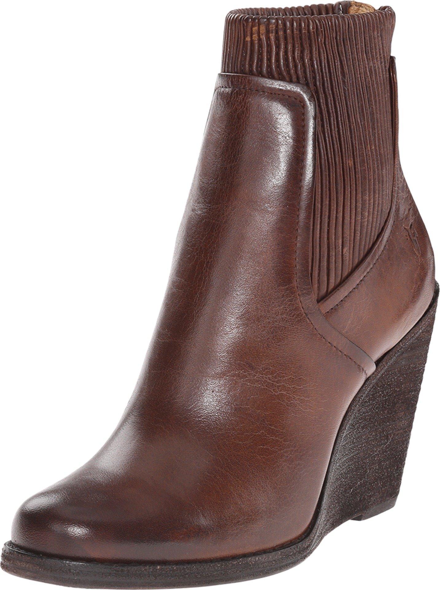 FRYE Women's Carrie Scrunch Back Zip Dark Brown Antique Pull Up Boot