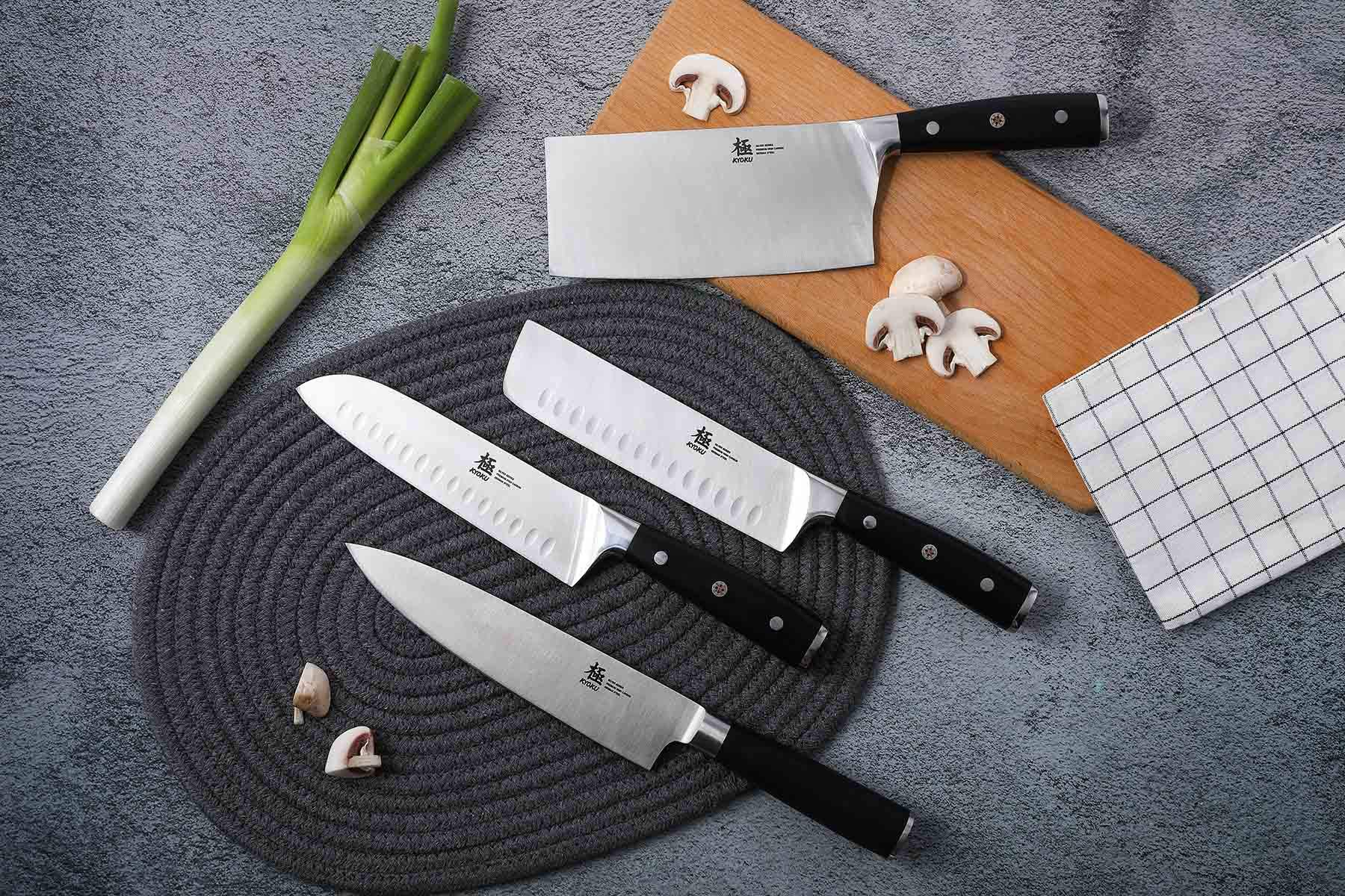 KYOKU Samurai Series - Nakiri Japanese Vegetable Knife 7'' with Sheath & Case - Full Tang - Japanese High Carbon Steel - Pakkawood Handle with Mosaic Pin by KYOKU (Image #2)