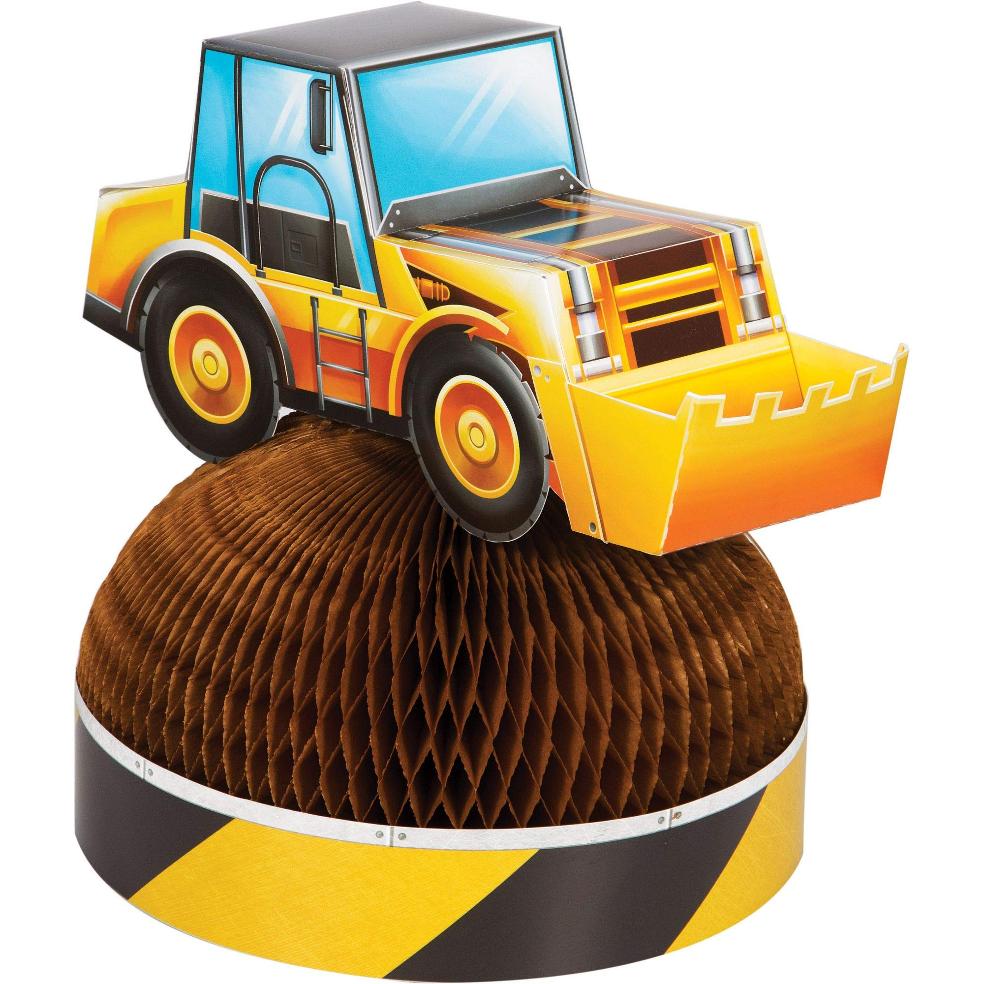 Party Central Pack of 6 Yellow and Brown Dig Big Construction Truck Centerpieces 11.5''