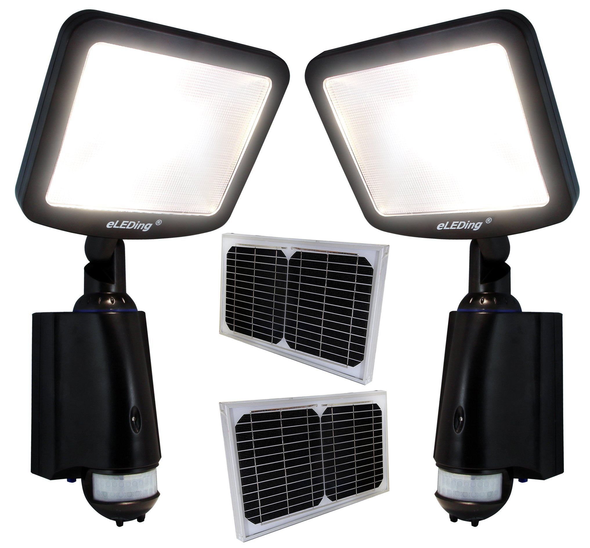 2PC LED Dusk to Dawn Outdoor Lighting 8W CREE 28WH Li-Poly Battery 100W Halogen Equiv. for Back Yardence (Black)