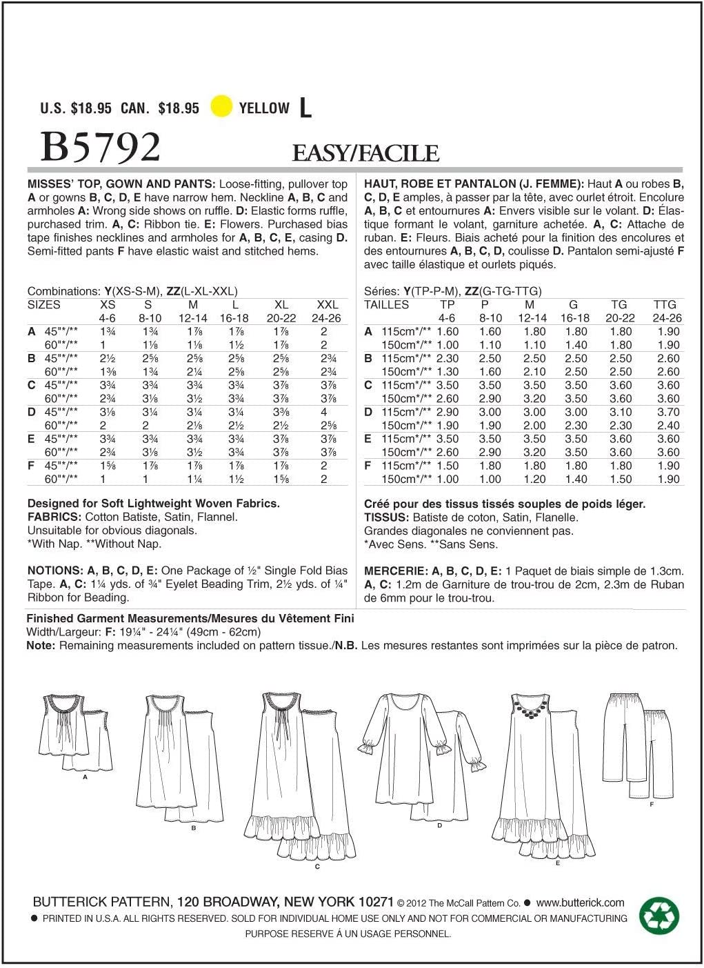 Gown and Pants Butterick Patterns B5792ZZ0 Misses Top Sewing Pattern Size ZZ LRG-XLG-XXL