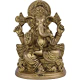 ITOS365 Brass Sculpture Ganesha Hindu Religious Statue of God Idol 5.2 Inches