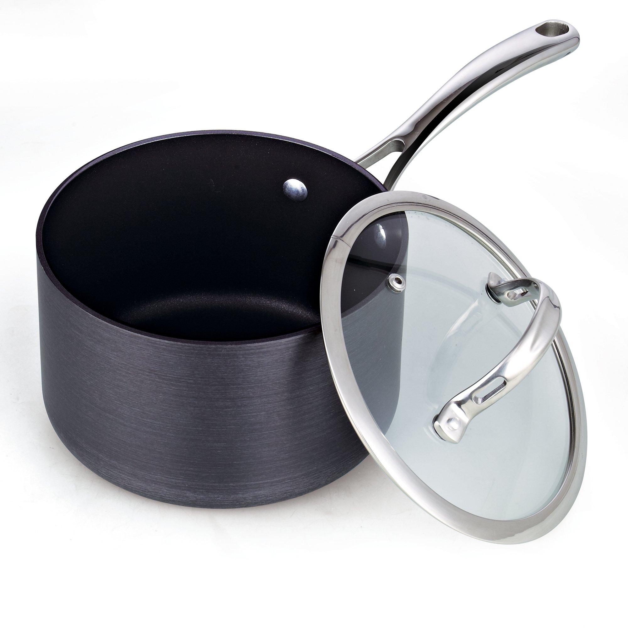 Cooks Standard 3-Quart Hard Anodized Nonstick Saucepan with Lid, Black